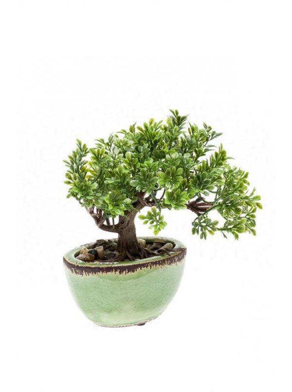 Artificial Ficus mini bonsai 19cm in pot green