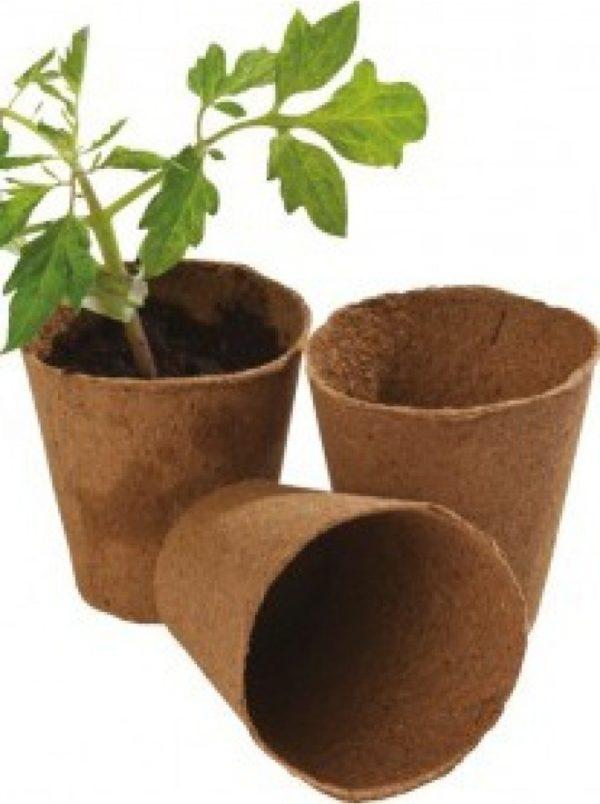 12 8cm Round Fibre Pots