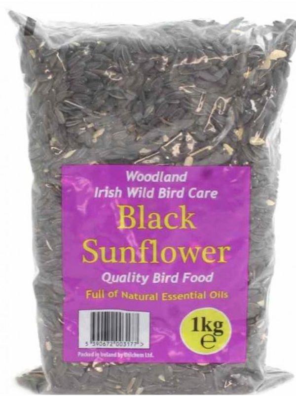 Woodland Irish Wild Bird Care Black Sunflower Seed 1KG