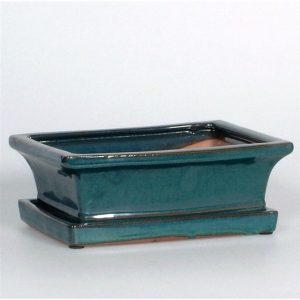 Ceramic Bonsai Pot & Saucer Green 20cm