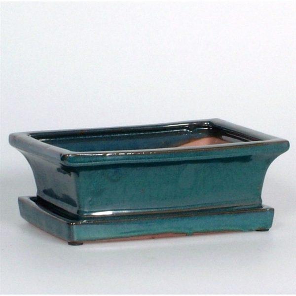 Ceramic Bonsai Pot & Saucer Green 20cm