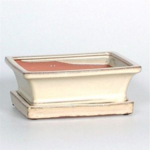 Ceramic Bonsai Pot & Saucer White 15cm