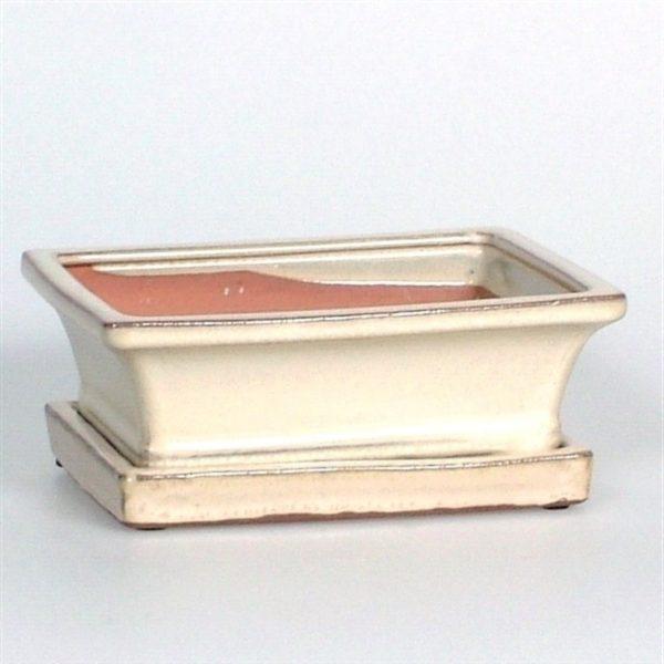 Ceramic Bonsai Pot & Saucer White 15cm