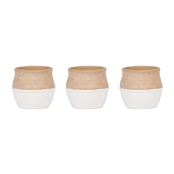 Ceramic Kolibri Basket White Pot 9cm