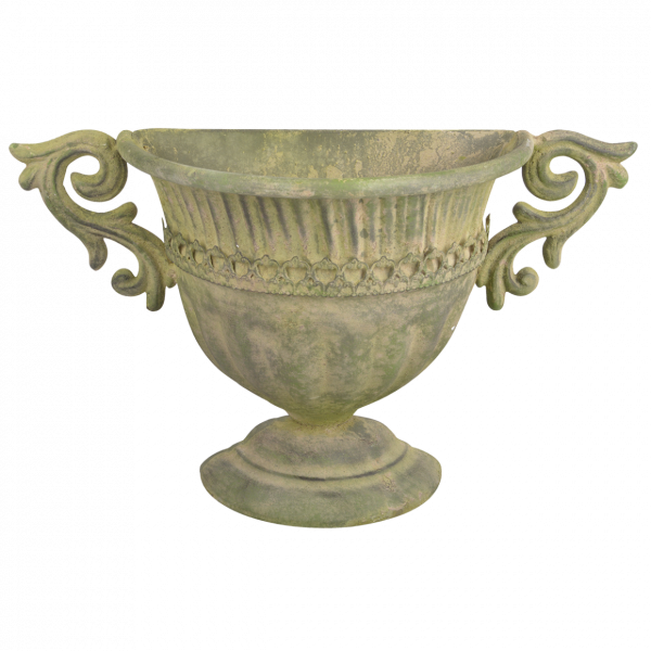 Aged Metal Green wall urn