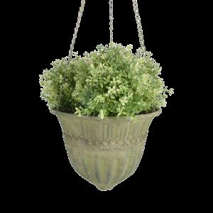 Aged Metal Green hanging basket L